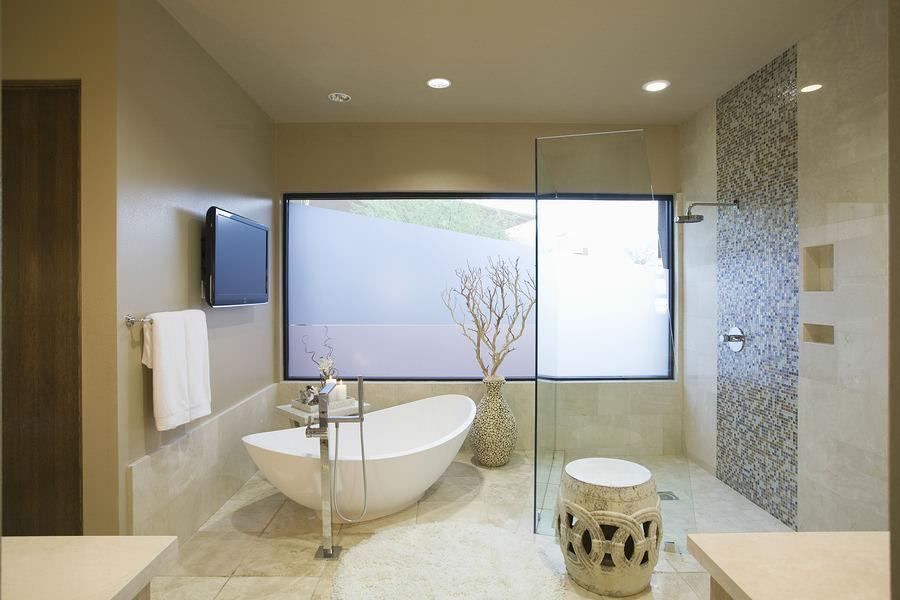 A modern bath and shower